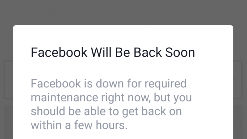 facebook will be back soon
