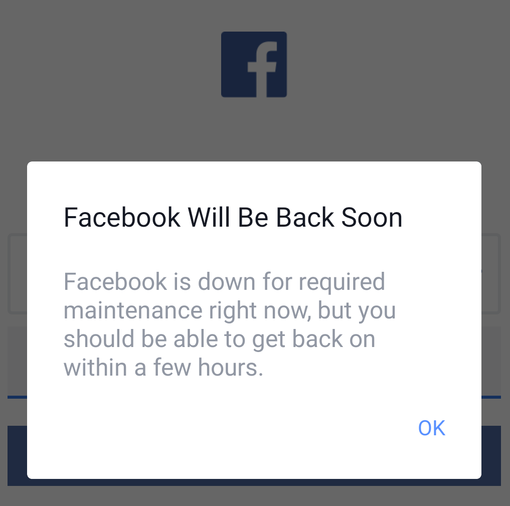 How to fix facebook will be back soon?